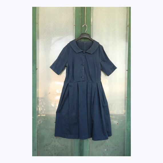 Retro 1950s Navy Blue Dress with Portrait Collar M/L
