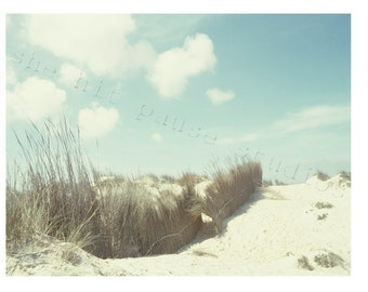 Beach Photography Ocean Sand Clouds Nature Light Blue Surf 11x14 Print