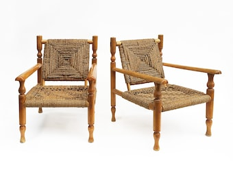 Charlotte Perriand Style Sisal Rope Armchairs Mid Century