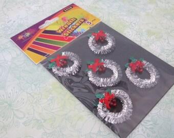 Mini Silver Metallic Tinsel Wreath Stickers Pack Of Five Mini Silver Wreaths