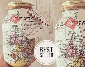 World Map - Travel fund mason jar. Home/interior - Light Jar - Holiday fund - Travel Mad - Adventure, Gifts for her