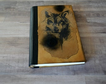 Wolf sketchbook notebook diary writing journal bullet journal leather journal blank book travel notebook gift for him