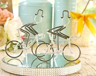 LGBT Wedding Cake Topper, Mr and Mr Silver Wedding Road Bikes with Black Wheels, Handmade Wedding Cake Topper