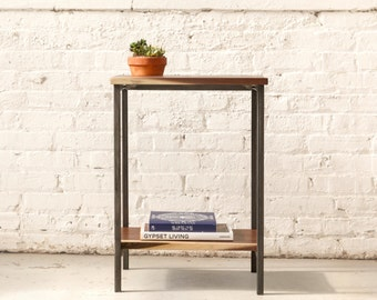 The Marshal Nightstand - Walnut with Waxed Steel.. Bedside table