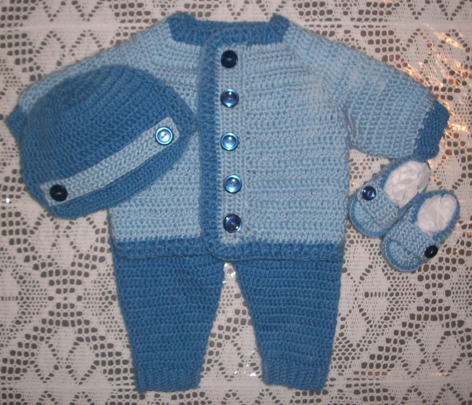Crochet Baby Boy Sweater Set With Leggings and Booties Layette