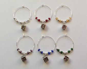 Dice Wine Glass Charms, Dice Wine Glass Markers