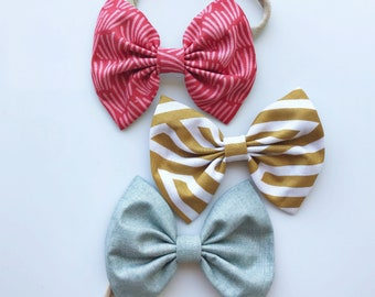 FINAL SALE : Hipster Hues Set set- baby bow set, Red Fray Bow, Camel Stripe & Gray-Blue Bow