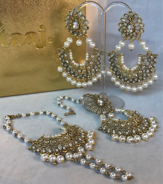 Antique gold zirconia Matching Earrings Tikka & Handpiece set