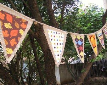 Fall Burlap Banner, Fall Decor, Fall Burlap Garland, Fall Pennant, Autumn Banner, Autumn Bunting, Thanksgiving Decor, Thanksgiving Banner