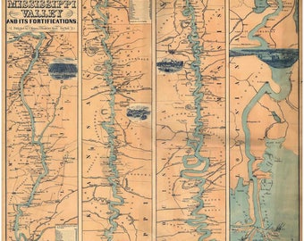 Mississippi River Valley - 1863 - Old Wall Map - St Louis MO to New Orleans LA - Reprint
