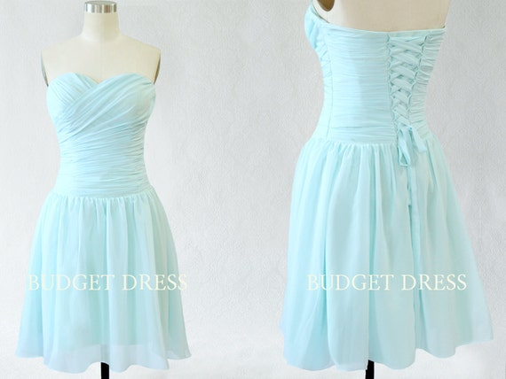Short Bridesmaid Dress with Sweetheart Neckline Chiffon