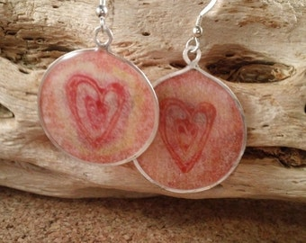 Heart Sterling Silver and Watercolor Dangle Earrings Ready to Ship SRAJD