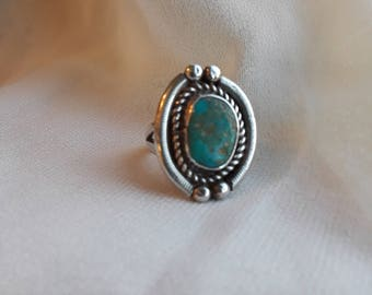 Sterling silver native American turquoise ring, size 4