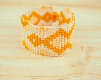 Orange seed bead bracelet, native american bracelet, beaded cuff, peyote bracelet, ethnic bracelet , tribal bracelet, beadworking