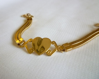 Vintage Gold Heart Bracelet Signed Hong Kong