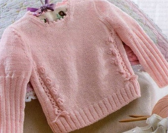 Sweet Small Roses Sweater fro Baby Girls