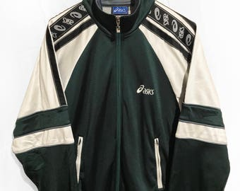 Vintage 1991 Asics  Windbreaker Tracksuit Top jacket Sleeve logo Green/White/Black  Size L fits L/XL