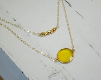 Gold Layered Necklace | Set of 2 | Double Layer Gemstone Necklace | Yellow Citrine Bezel | Tiny Gold Pyrite Cube Beads | Layered Necklace