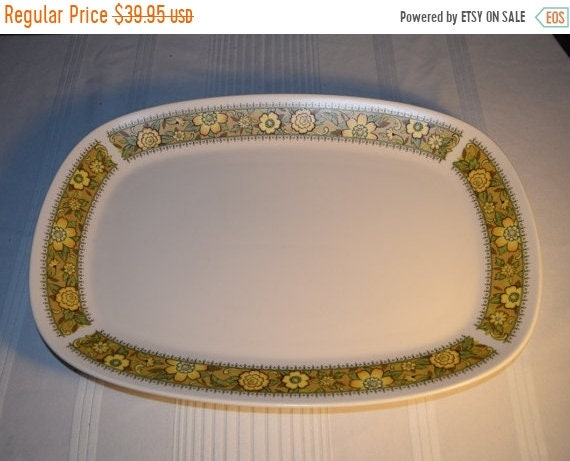 """Delayed Shipping Noritake Progression Festival 15"""" Serving Platter Vintage Oval Serving Tray Hard to Find Rare 1970s Noritake Replacement Di"""