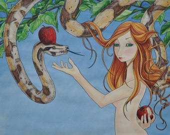 Eve, Eve and Snake, Eve and Apple, Adam and Eve, apple tree, girl and snake, art, graphic art, fantasy, girl with red hair, Mary Pohlmann