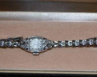 Girard Perregaux 14k White Gold and Diamond Vintage Watch Working Stunning!