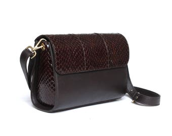 Handbag brown leather and python AWAtelierParis Joan
