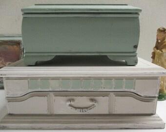 Double stacking jewelry box / vintage boxes / seperate wood jewelry boxes / set of jewelry boxes / 2 wood trinket boxes / keepsake box