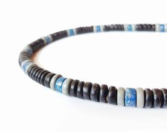 Surfer men's necklace - wood bead necklace for men - East Coast