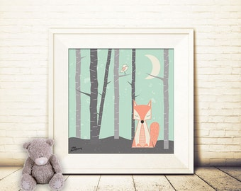 square, nursery art print, Fox in the night art print, Giclee Art Print, Mint, Coral, archival art print, fox print, woodland art print