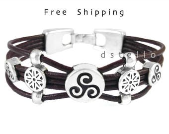 Mothers day gifts, Celtic bracelet - Triskel bracelet, Triskele leather bracelet, Celtic, Men's jewelry, Women's cuff,  leather, Anniversary