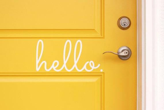 sc 1 st  Etsy & Hello Vinyl Door Decal Hello Front Door Decals Hello Home