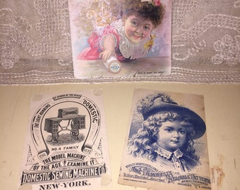 Lot of 3 Victorian Sewing Trade Cards Clarks ONT Thread Domestic Sewing Machine Mme Demorests Sewing Patterns