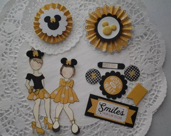 Paper doll embellishment kit card toppers adornments little girl dolls