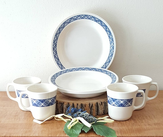 Vintage Corelle Blue Plaid Corelle Dinnerware 8 Piece Set Made