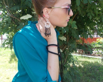 NEW Marvelous extravagant/ Handcrafted earrings/ Leather/ Handmade leather jewelry by RJ 022