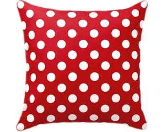 Christmas Pillow, Red Polka Dot Pillow Cover, Red and White Dots Pillow, Polka Dot Pillow, Red Pillow Cove with Hidden Zipper, Polka Dot Red