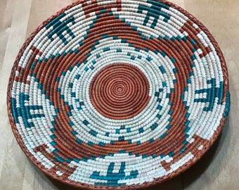 Orange, Teal and White Hand Woven Sea Grass Basket #311 // woven wall basket // woven wall art // wall basket