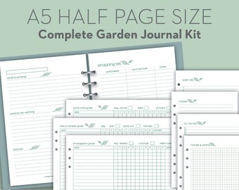 Printable Garden Journal, Planning & Guide Notebook - Filofax A5 Half Page size organizer insert refills