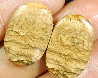 23.00 Cts aaa 100% Natural PICTURE JASPER Matched PAIR 2 pc Oval Shape Loose Gemstones Cabochon
