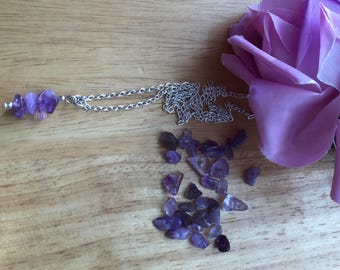 Amethyst silver plate necklace
