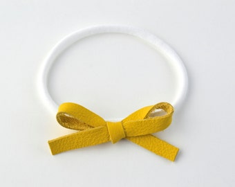Canary Yellow LARGE Leather Bow One Size Fits All Elastic Adorable Photo Prop for Newborn Baby Little Girl Child Adult Headwrap Pretty Bow