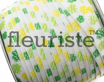 Fold Over Elastic, FOE, Foldover Elastic, Elastic By The Yard, 5/8 Elastic, Elastic, Clover Elastic, Printed Elastic, St Patricks Elastic