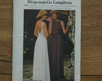 vintage butterick pattern wrap and go long dress evening length  sz 10 for moderate stretch knits only