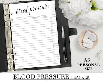 Printable BLOOD PRESSURE tracker insert for your Personal and A5 planner_Health insert_ blood pressure monitor_Healthcare refill Filofax