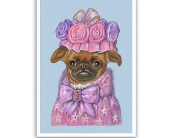 Petit Brabançon Art Print - Lady Fluffy - Griffon Art - Dog Prints and Gifts - Pet Portraits by Maria Pishvanova