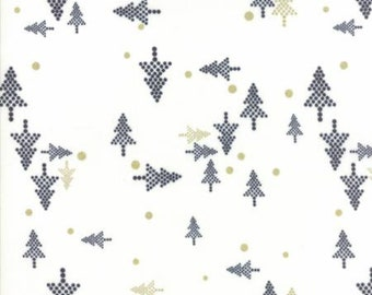 Christmas Trees in White ... WHITE CHRISTMAS by Zen Chic .. Moda fabrics 1651 11M Winter, black and gold, metallic, holiday, trees