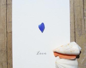 Seaglass card-Genuine seaglass-Seaglass art-Hand made greeting cards-postcard with heart-Card OOAK-Love-blue heart