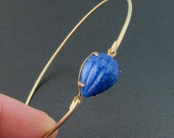 Deep Blue Lapiz Lazul Bracelet, Saba - Gold