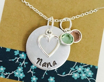 Nana Necklace, Grandma Necklace,  Birthstone Necklace, Grandma Gift, Grandma Heart Necklace with Birthstones, Birthstone Necklace