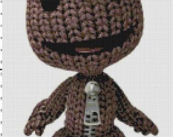 Sackboy etsy handmade little big planet video game sackboy pdf cross stitch pattern dt1010fo